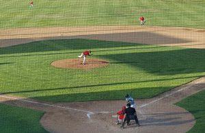 Jake Simmons tosses a strike against Yakima.